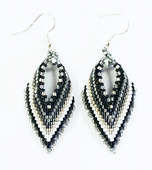 Russian Leaf Earring Beadwork Kit with MIYUKI Delicas - Black/White/Silver
